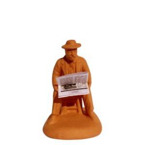 Santon de Provence à peindre Homme assis au journal