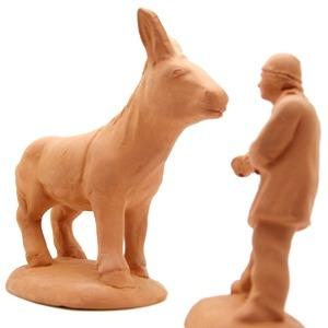 Santon de Provence à peindre le meunier et son âne récalcitrant