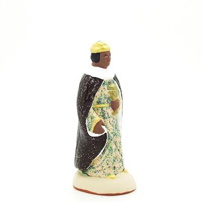 santon de provence peint à la main roi noir profil