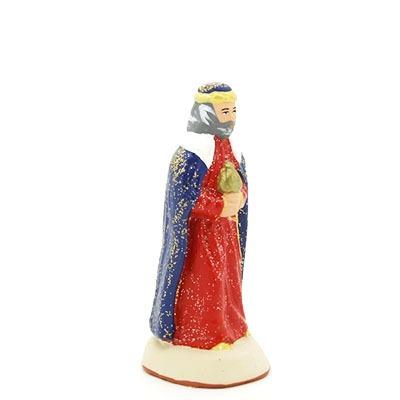 Roi blanc santon de provence peint à la main profil