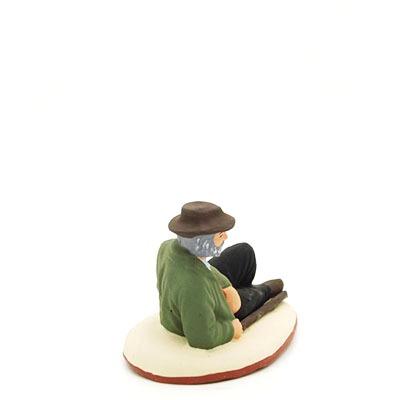 Santons peints Berger couché profil