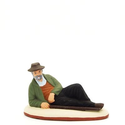 Santons peints Berger couché