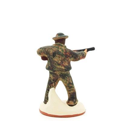 Santon gouache chasseur en action dos