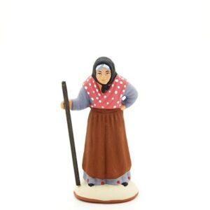 santon peint à la main femme baton