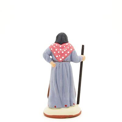 santon peint à la main femme baton dos