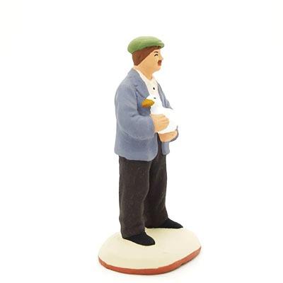 L'homme au canard - santon de Provence peint à la main profil