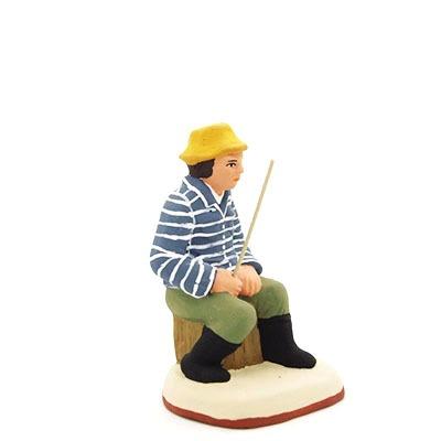 santon de provence peint à la main pêcheur riviere profil