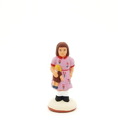 santon peint à la main fille à la poupée