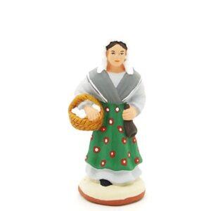 santon peint à la main femme à la brousse