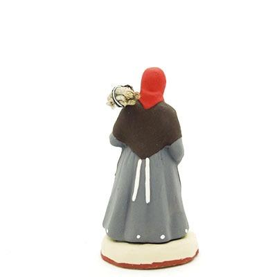santon peint à la main La femme au fagot dos