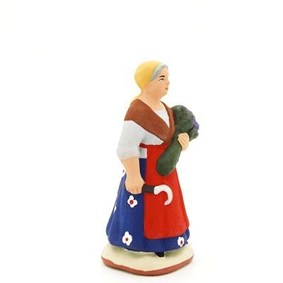 santon peint à la main femme serpe lavande profil