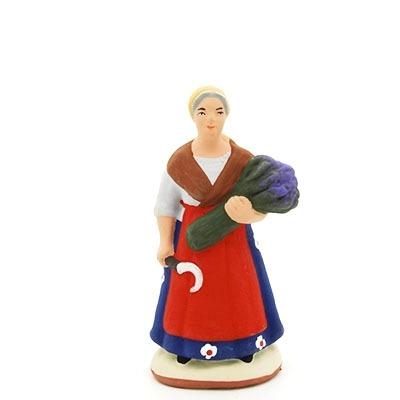 santon peint à la main femme serpe lavande