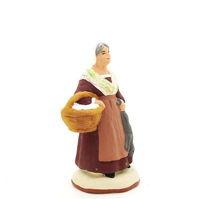 santon peint à la main femme au lapin profil