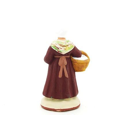 santon peint à la main femme au lapin dos