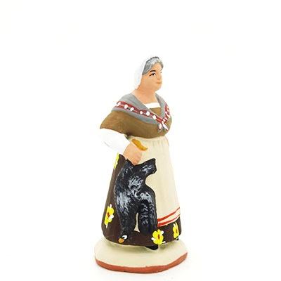 santon peint à la main femme à la poule profil