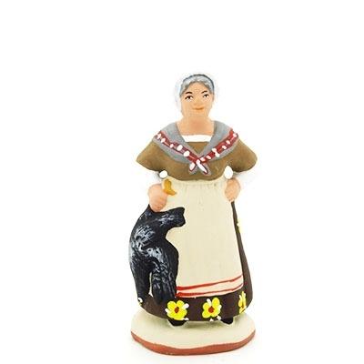 santon peint à la main femme à la poule