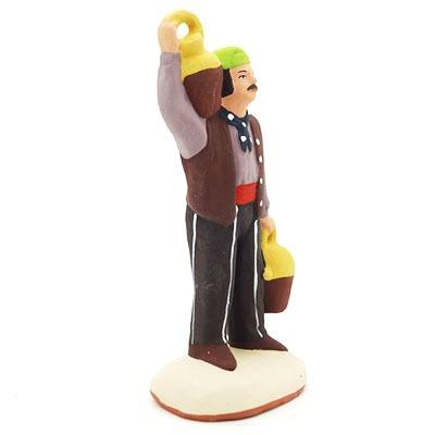 santon de provence peint à la main homme à la cruche profil