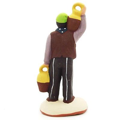 santon de provence peint à la main homme à la cruche dos