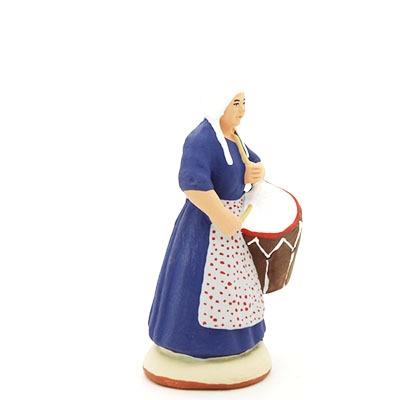 santon peint à la main femme tambourinaire profil