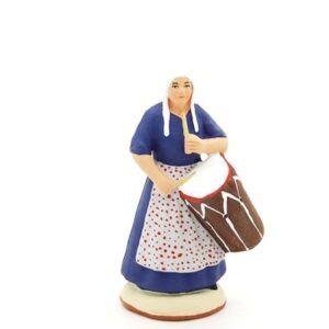 santon peint à la main femme tambourinaire