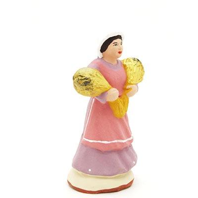 santon peint main la femme aux blés profil
