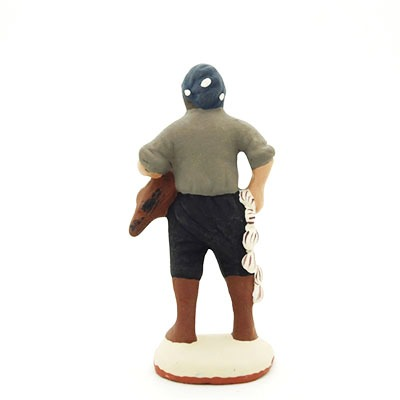 santon de provence peint à la main homme à la poule et à l'ail dos