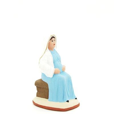 santon de provence peint à la main vierge assise enceinte profil