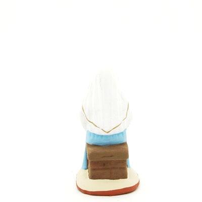 santon de provence peint à la main vierge assise enceinte dos