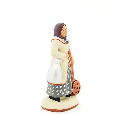santon peint à la main femme bassinoire profil