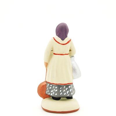 santon peint à la main femme bassinoire dos