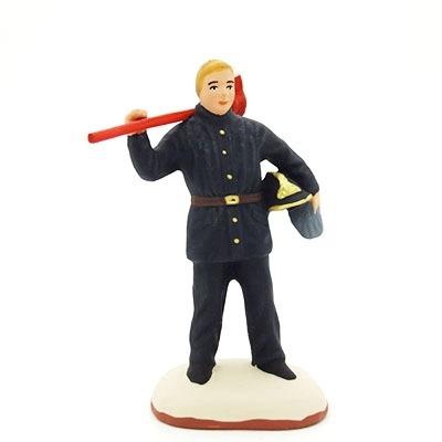 santon de provence peint à la main pompier