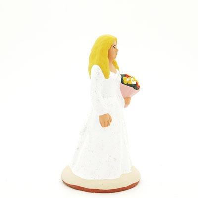 santon de provence peint à la main la mariée profil