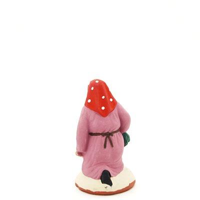 santon de provence peint à la main ramasseuse lavande accroupi dos