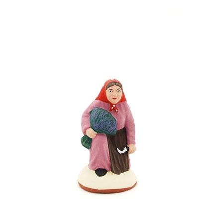 santon de provence peint à la main ramasseuse lavande accroupi