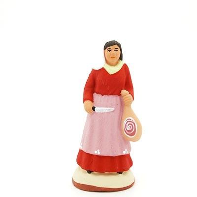 santon peint à la main femme au jambon