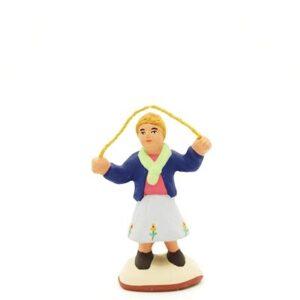 santon peint à la main fille a la corde