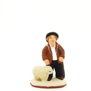 santon peint à la main garçon berger mouton