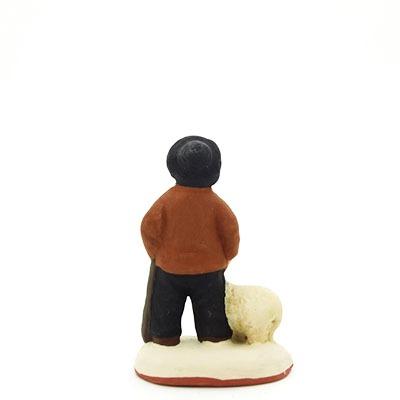 santon peint à la main garçon berger mouton dos