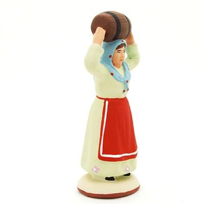 santon peint à la main femme au tonneau profil
