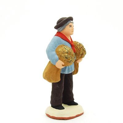 santon de provence peint à la main l'homme aux blés profil