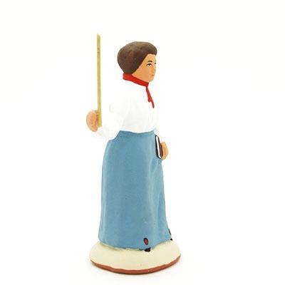 santon de provence peint à la main institutrice profil