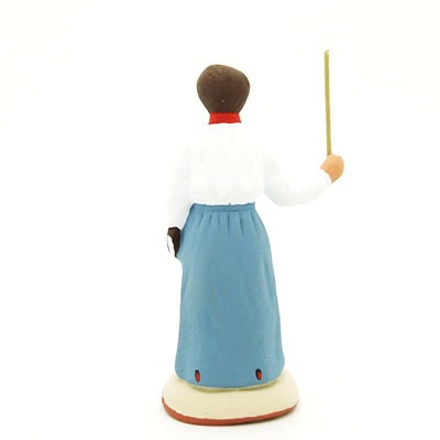 santon de provence peint à la main institutrice dos
