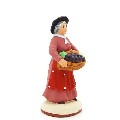 santon peint à la main femme aux fruits profil