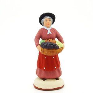 santon peint à la main femme aux fruits