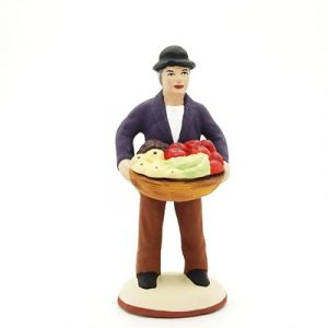santon de provence peint à la main homme aux fruits