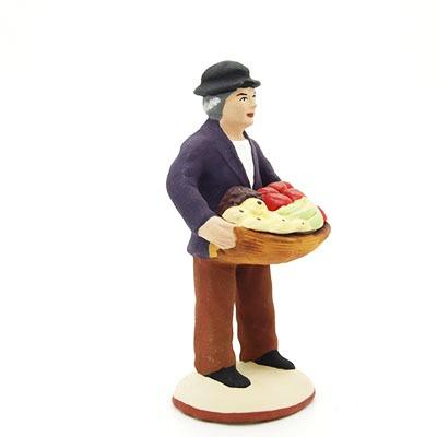 santon de provence peint à la main homme aux fruits profil