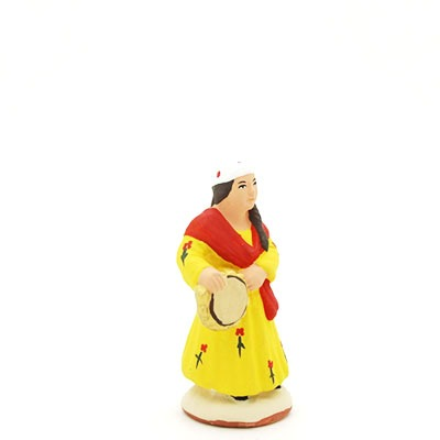 santon de provence peint à la main petite gitane profil