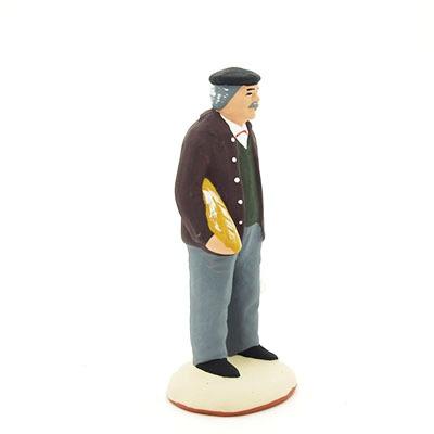 santon de provence peint à la main homme a la baguette de pain profil