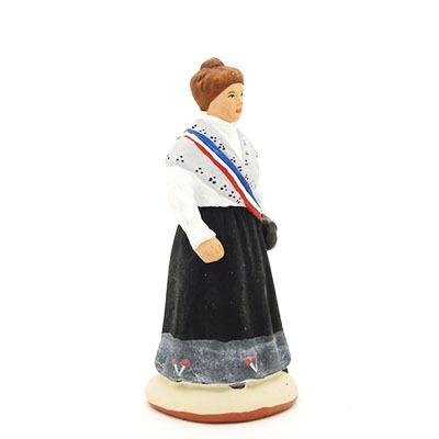 santon de provence peint à la main madame le mairea profil