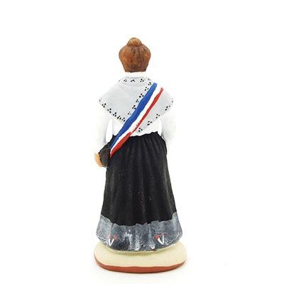 santon de provence peint à la main madame le mairea dos